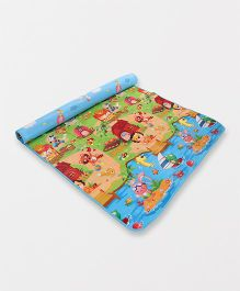 House With Animal Printed Play Mat - Blue Multi Colour