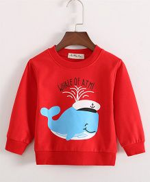 Pre Order - Lil Mantra Whale Print Sweatshirt - Red
