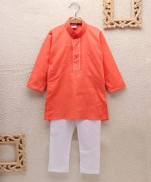 Babyhug Full Sleeves Kurta With Pajama Set - Coral White