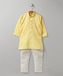 Babyhug Full Sleeves Kurta With Pajama Set - Light Yellow White