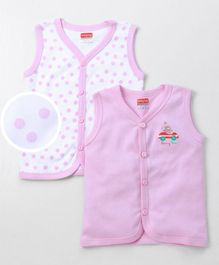 Babyhug Sleeveless Cotton Vests Bunny Print Pack of 2 - White & Pink