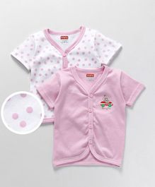 Babyhug Half Sleeves Cotton Vest Bunny Print Pack of 2 - Light Pink White