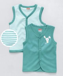 Babyhug Sleeveless Vest Pack of 2 - Sea Green