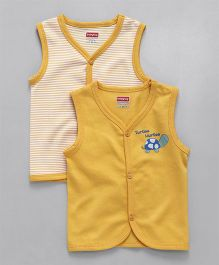 Babyhug Sleevesless Vests Turtle Printed & Striped Pack of 2 - Yellow