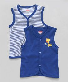 Babyhug sleevesless vest solid and stripe pack of 2 3-6 M Royal