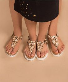 BonOrganik Floral Bling Sandals For Mom - Golden