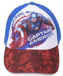 Babyhug Summer Cap Captain America Print - Blue Red