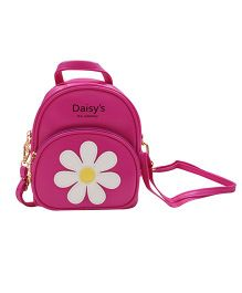 Abracadabra Faux Leather Bag Daisy Patch Dark Pink - Height 9 inches