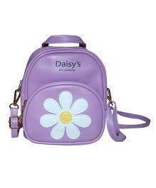 Abracadabra Faux Leather Bag Daisy Patch Purple - Height 9 inches