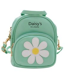Abracadabra Faux Leather Bag Daisy Patch Mint Green - Height 9 inches