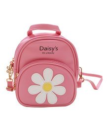 Abracadabra Faux Leather Bag Daisy Patch Pink - Height 9 inches