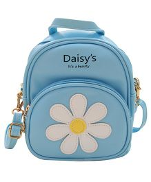 Abracadabra Faux Leather Bag Daisy Patch Blue - Height 9 inches