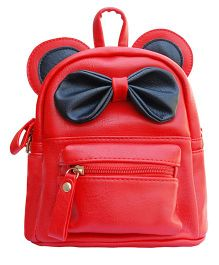 Abracadabra Faux Leather Bag 3D Bow Feature Red - Height 9 inches