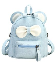 Abracadabra Faux Leather Bag 3D Bow Feature Blue - Height 9 inches