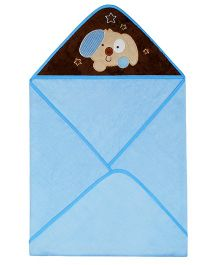 Abracadabra Hooded Towel Puppy Embroidery - Sky Blue