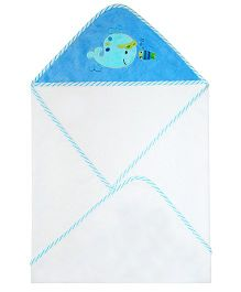 Abracadabra Hooded Towel Whale Embroidery - White Blue