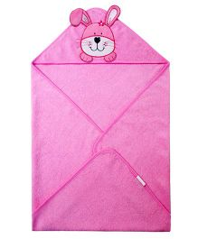 Abracadabra Hooded Towel Bunny Face Embroidery - Pink