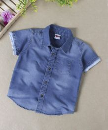 Babyhug Half Sleeves Denim Shirt - Dark Blue