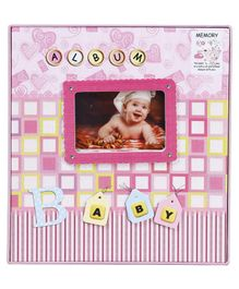 Baby Photo Checks Print Album - Pink