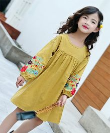 Lil Mantra Floral Embroidered Dress - Mustard Yellow