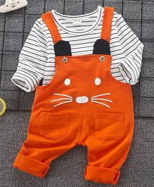 Pre Order - Lil Mantra Striped Inner With Dungaree Set - Orange
