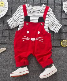 Pre Order - Lil Mantra Striped Inner With Dungaree Set - Red