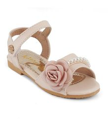 Kitten Girls Rose Applique Sandals - Beige