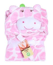 Kidslounge Hooded Cotton Blanket Cow Design - Pink White
