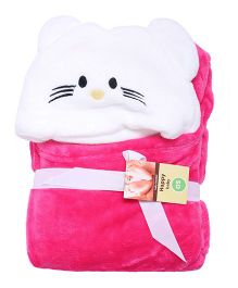 Kidslounge Hooded Cotton Blanket Kitty Design - Pink White