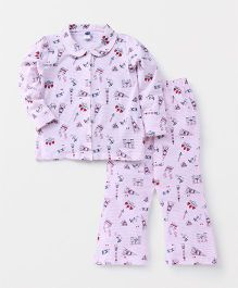Teddy Full Sleeves Night Suit Set Paris Print - Pink