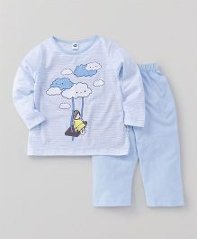 Teddy Full Sleeves Night Suit Set Clouds Print - Light Blue