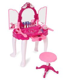Smiles Creation Dresser Set With Stool - Dark Pink