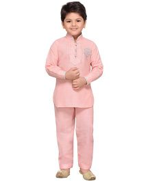 AJ Dezines Full Sleeves Pathani Suit - Peach