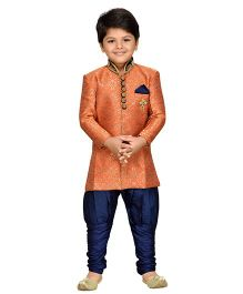 AJ Dezines Sherwani With Jodhapuri Breeches - Orange Navy