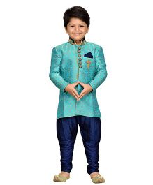 AJ Dezines Sherwani With Jodhapuri Breeches - Navy Blue