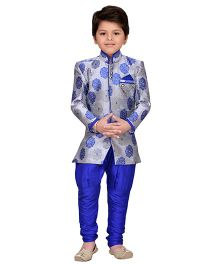 AJ Dezines Indo Western Sherwani With Jodhapuri Breeches - Royal Blue