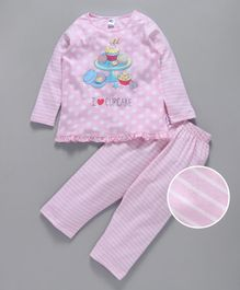Teddy Night Suit Full Sleeves Cup Cakes Print - Pink
