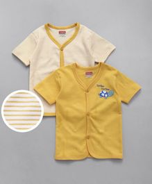 Babyhug Half Sleeves Vests Turtle Printed & Striped Pack of 2 - Yellow