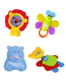 Emob Baby Animal Shaped Rattle Set OF 4  - Multi Colour