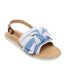 Aria Nica Bow Trim Leather Sandal Buckle Closure - Blue