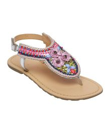 Aria Nica Dora Embellished Sandals Velcro Closure - Silver