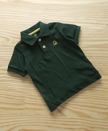 UCB Half Sleeves Polo T-Shirt Embroidered Logo - Dark Green
