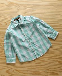 UCB Full Sleeves Checks Shirt - Sea Green & White