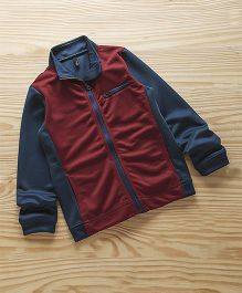 UCB Full Sleeves Zippered Sweat Jacket With High Neck - Maroon
