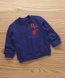 UCB Full Sleeves Sweat Jacket logo Print With Pockets - Blue