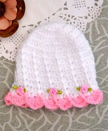 Buttercup From Knitting Nani Striped Cap With Satin Flowers - White & Pink
