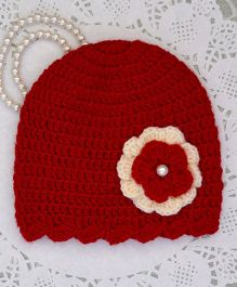 Buttercup From Knitting Nani Floral Applique Cap - Red