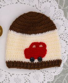 Buttercup From Knitting Nani Car Applique Cap -  Off White & Brown
