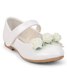 Cute Walk by Babyhug Belly Shoes Rose Motif - White