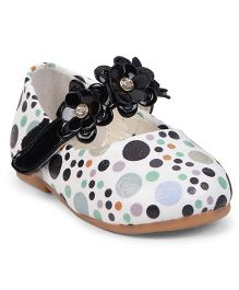 Cute Walk by Babyhug Belly Shoes Floral Motif - Black